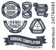 Not ordinary ribbons and banners in retro style for use in emblems. Endless bands for logos.