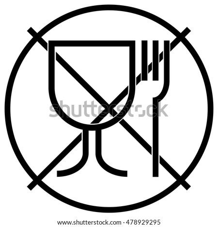 Not suitable for food icon. No food grade symbol. Food unsafe sign, black isolated vector illustration.