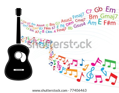 Note Guitar Chords Floating Guitar Stock Photo (Photo, Vector ...