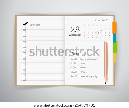Note book, note papers and pencil, Business working elements for web design , mobile applications, social networks. - stock vector