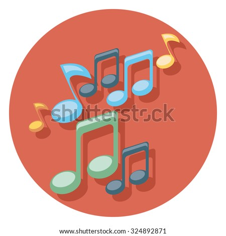 note flat icon in circle - stock vector
