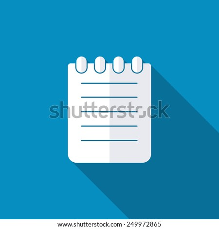 Note icon. Modern design flat style icon with long shadow effect - stock vector