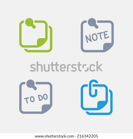 Note Icons. Granite Series. Simple glyph stile icons in 4 versions. The icons are designed at 32x32 pixels. - stock vector