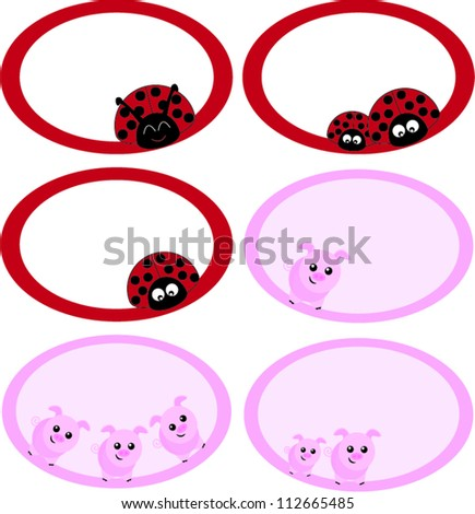 Note labels ladybug and pig - stock vector