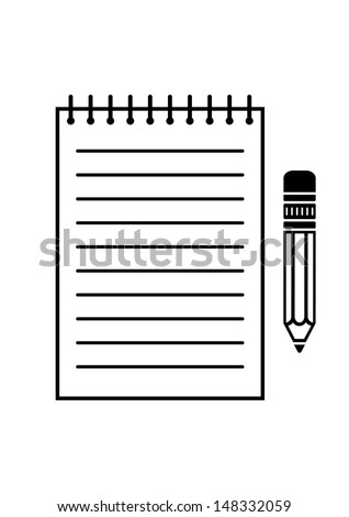 Note pad and pencil - stock vector