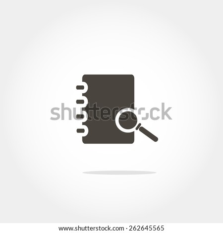 note pad with a magnifying glass icon, minimum points, clean work, vector illustration - stock vector