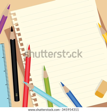 Note paper and colored pencils - stock vector