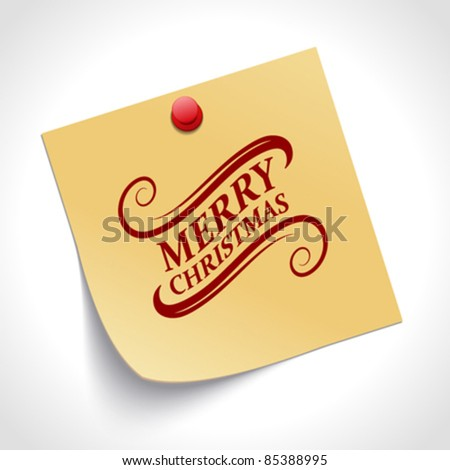 Note paper and Merry Christmas message with push pin vector illustration. Eps 10. - stock vector
