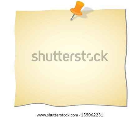 Note paper and red pin on white background, illustration. - stock vector