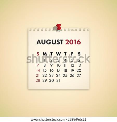 Note Paper Calendar Vector August 2016 - stock vector