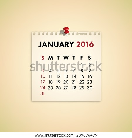 Note Paper Calendar Vector January 2016 - stock vector