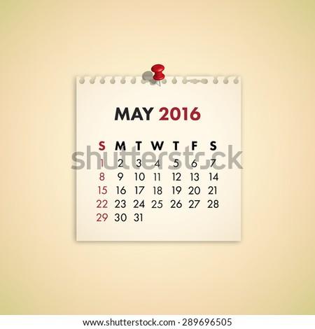 Note Paper Calendar Vector May 2016 - stock vector