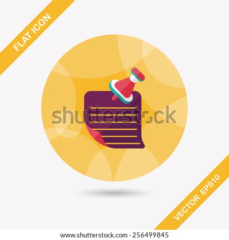 note paper flat icon with long shadow,eps10 - stock vector