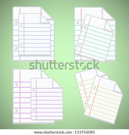 Note paper sheet with colorful lines, vector illustration - stock vector