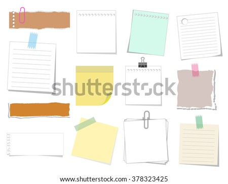 note paper vector set, shredded, torn and clip