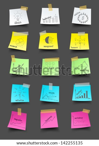 Note paper with drawing business plan strategy idea concept, Vector illustration template design  - stock vector