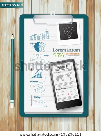 Note paper, With drawing business strategy plan concept idea, Mobile phone newsletter template screen on wood texture background, Vector illustration - stock vector