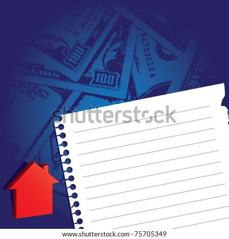 note paper with house icon and money background - stock vector