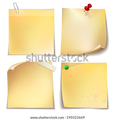 Note paper with metal paper clip,  green and red push pins on white  background.    Vector illustration. - stock vector