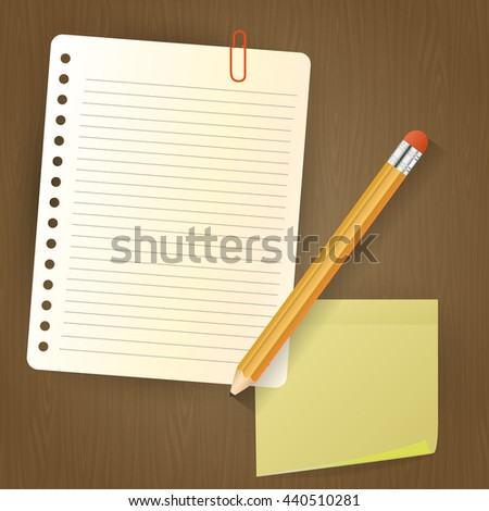 Note paper with pencil and sticker on wood background. Vector Illustration - stock vector