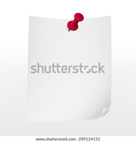 note paper with push pin over white background - stock vector