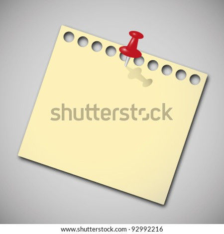 Note paper with red pin. - stock vector