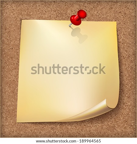 Note paper with red pin on cardboard background.    Vector illustration. - stock vector