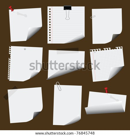 note papers - stock vector