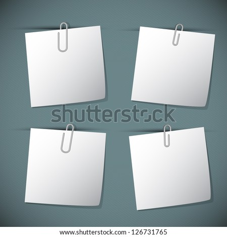 Note papers with paperclip, vector illustration - stock vector