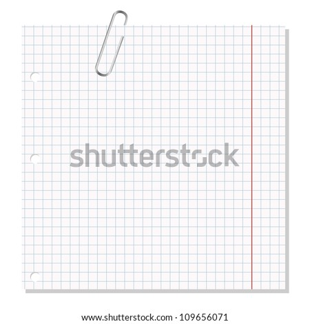 note with paper clip - stock vector