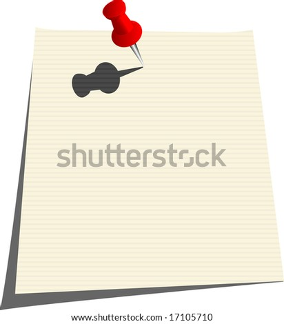 Note with Tack - stock vector