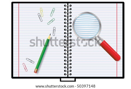 Notebook and magnifier - stock vector