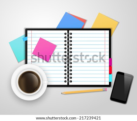Notebook and office supplies. Vector. - stock vector