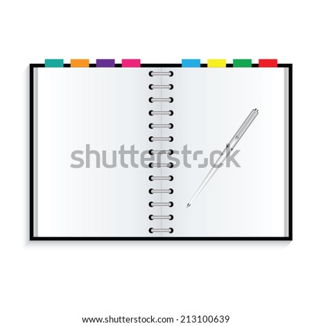 Notebook and pen on white background - stock vector