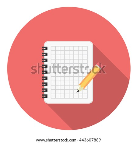 Notebook And Pencil Flat Style Design Icon - stock vector