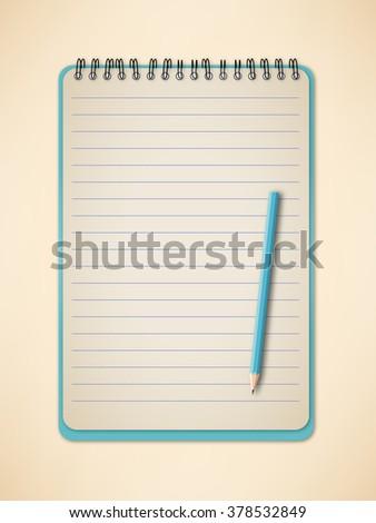 Notebook and pencil vector  - stock vector