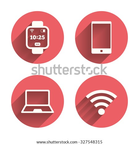 Notebook and smartphone icons. Smart watch symbol. Wi-fi and battery energy signs. Wireless Network symbol. Mobile devices. Pink circles flat buttons with shadow. Vector - stock vector