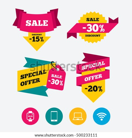 Notebook and smartphone icons. Smart watch symbol. Wi-fi and battery energy signs. Wireless Network symbol. Mobile devices. Web stickers, banners and labels. Sale discount tags. Special offer signs