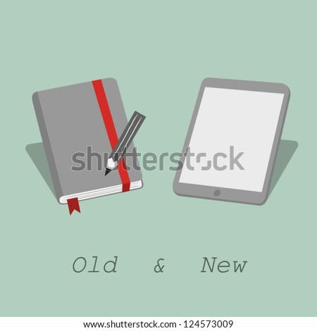 notebook and tablet - stock vector