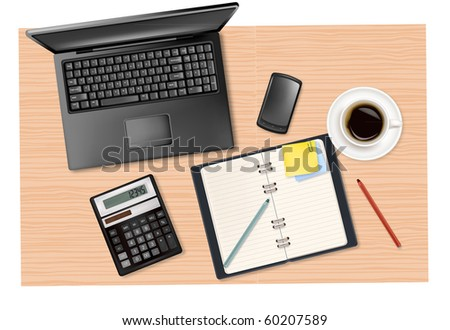 Notebook, calculator and office supplies on the table. Vector. - stock vector