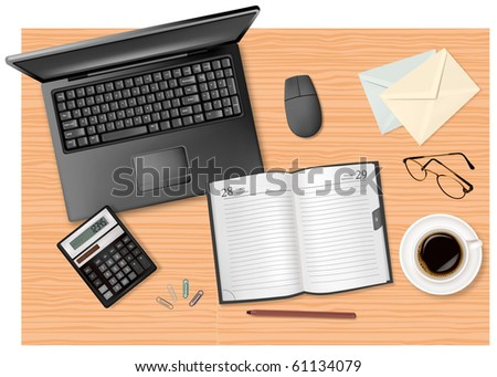 Notebook, Calculator And Office Supplies On The Table. Vector.