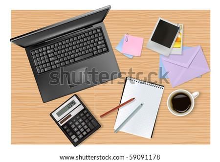 Notebook, calculator and office supplies. Vector. - stock vector