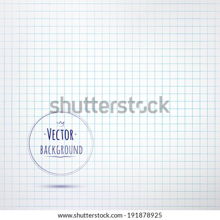 Notebook checkered paper background. Vector illustration. - stock vector