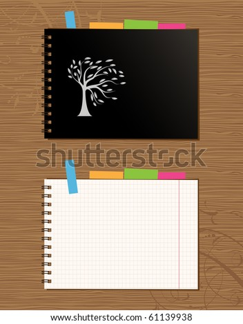 Notebook cover and page design on wooden background - stock vector