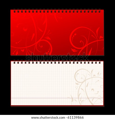 Notebook cover and page for your design - stock vector