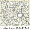 Notebook Doodle Design Elements Vector Illustration Set - stock vector