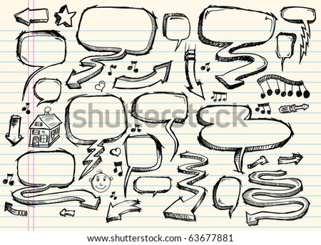 Notebook Doodle Sketch Speech Bubble Arrow Vector Illustration Set