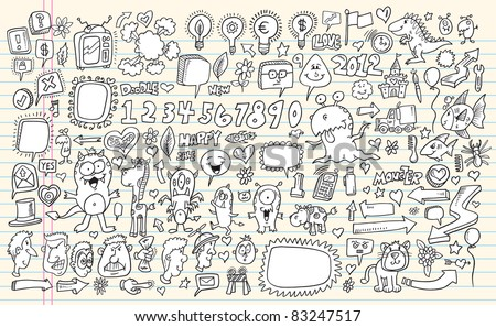 Notebook Doodle Speech Bubble Design Elements Mega Vector Illustration Set  with Animals Monsters and People - stock vector