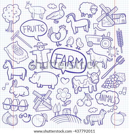 Notebook Farm Day Animals Doodle Icons Hand Made