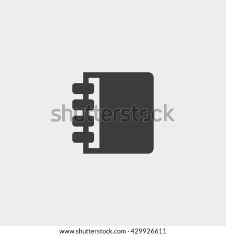 Notebook icon in a flat design in black color. Vector illustration eps10 - stock vector